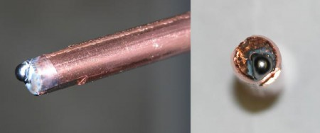 Burnbacks, as shown here, occur when a weld forms within the contact tip and can occur at any point along the weld.