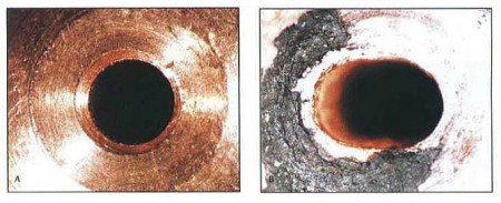 These images show the characteristics of contact tip wear. The image on the left (A) shows the bore conditions of a new contact tip. The image on the right (B) shows a contact tip that has experienced wear after many hours of welding.
