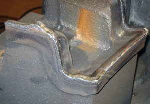A TIG welded edge on a punch.