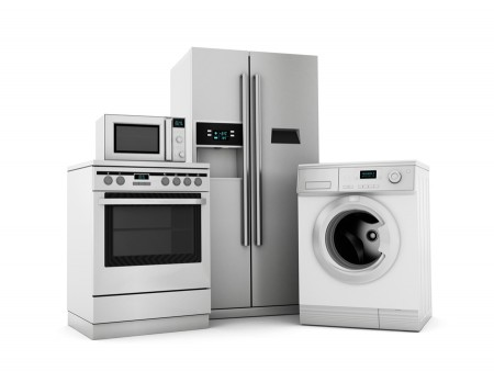 Group of house appliances isolated on white.